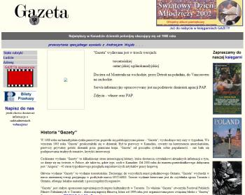 Pierwsza strona GazetaGazeta.com w Internecie z 2002 roku