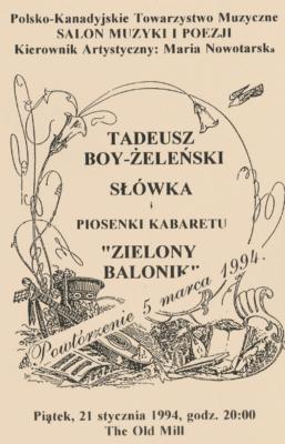 Tadeusz Boy żeleński Słówka I Piosenki Kabaretu Zielony